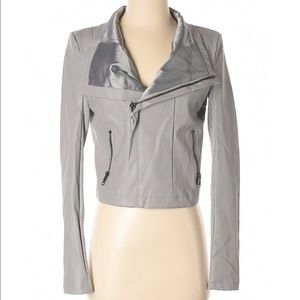 Olivaceous Gray Faux Leather Jacket